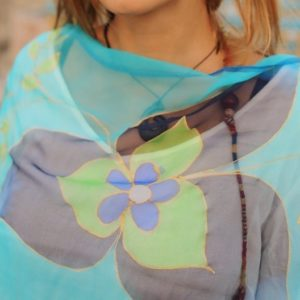 Pañuelos de seda color Mausam Turquesa