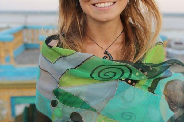 Pañuelos de seda color Sabina esmeralda