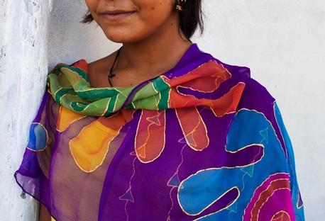 Pañuelos de seda color Meena Violeta