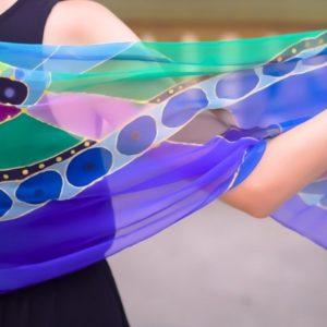 Pañuelos de seda color Sapna Azul
