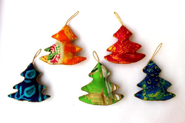 Regalos solidario - Lote de colgantes de tela - Artesanía india
